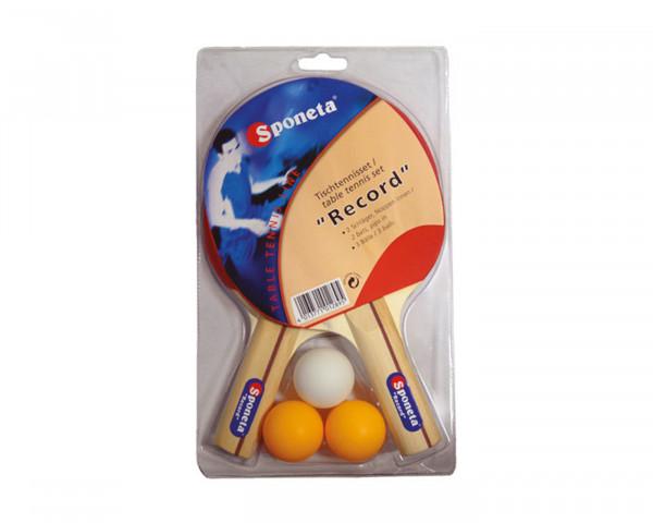 Tischtennistischschläger Rot, Tischtennistischschläger Schwarz und drei Bälle - bowi.ch