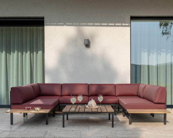 Garten Lounge Sylt Set Burgund wasserfeste Kissen Karasek auf Terrasse - bowi.ch