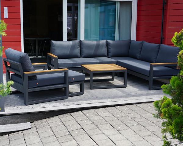 Garten Lounge Soho L-Form mit Sessel Teakholz Ausstellung - bowi.ch