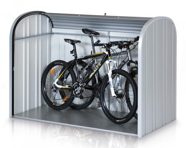 Stimmungsbild von Biohort Storemax 190 in der Farbe Solber-metallic freistgestellt mit geöffneten Türen - bowi.ch