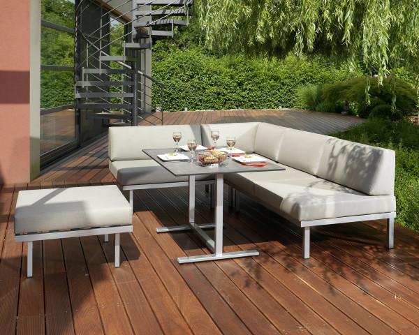 Garten Lounge Dinig Set Sylt Silber Tisch HPL tiefe Sitzfläche Karasek Gartenmöbel BOWI - bowi.ch