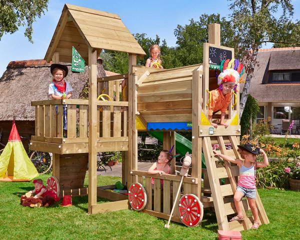 Spielturm Cubby mit Train Modul Jungle Gym - bowi.ch