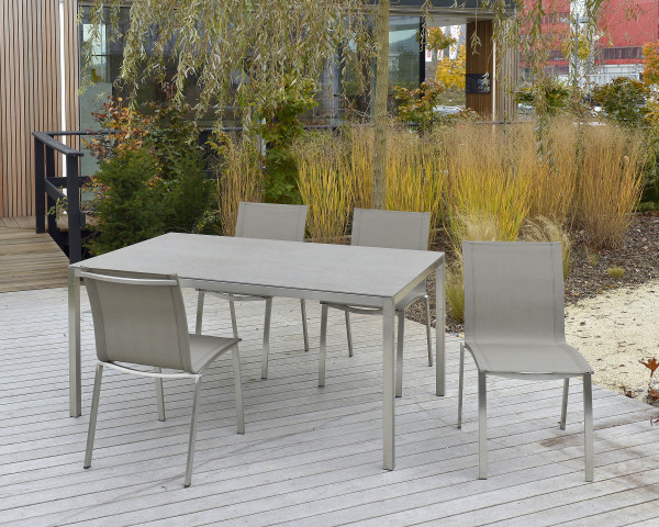 Gartentisch Set Manhattan Sima 4er Keramik Edelstahl Sessel Textilen Taupe - bowi.ch