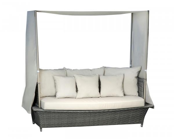 Garten Lounge San Diego mit Dach Geflecht Grau inkl. Sitz- und Rückenkissen Gartenmöbel - bowi.ch