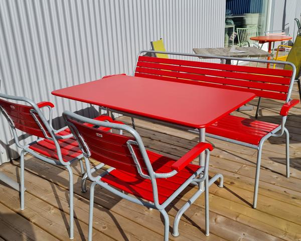 Gartentisch Set Rigi Rot Sessel Bank Tisch Eschenhols Gestell Feuerverzinkt - bowi.ch