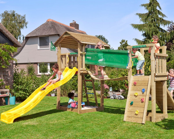Spielturm Cottage mit Bridge Modul Jungle Gym - bowi.ch