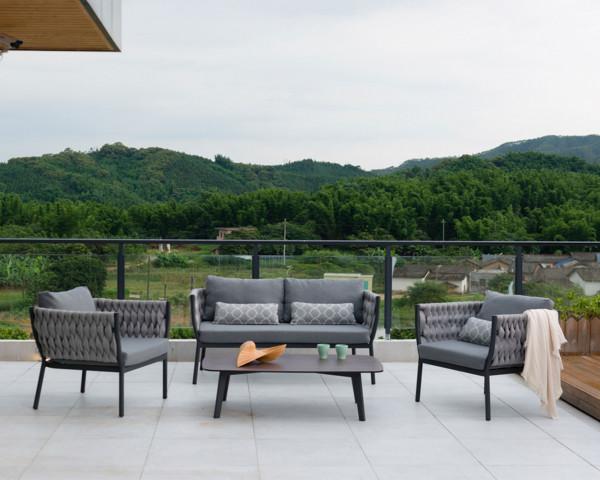 Garten Lounge Set Mara Sofa Sessel geschnürt in Grau Anthrazit - bowi.ch
