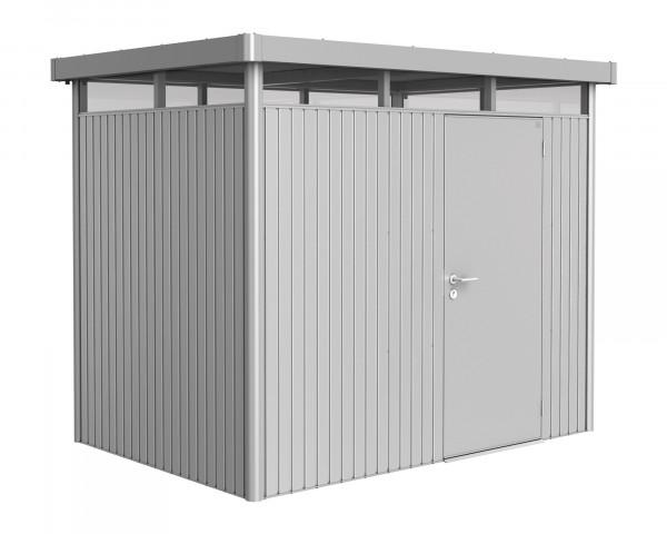 Das Gerätehaus HighLine® H2 mit Flachdach und durchgehendem Oblicht Silber Metallic Standardtüre - bowi.ch