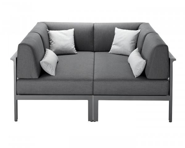 Garten Lounge Lola Endeinheit Set gepolstert Olefin Bezug Anthrazit Gestell Aluminium Anthrazit Gartenmöbel BOWI - bowi.ch