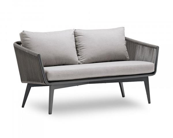 Garten Lounge 2er Sofa Diva geschnürt Aluminium Gestell Anthrazit - bowi.ch
