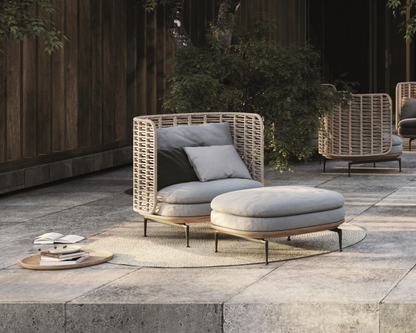 Garten Lounge Mistral Wicker Sessel Fussteil Gloster auf Terrasse - bowi.ch