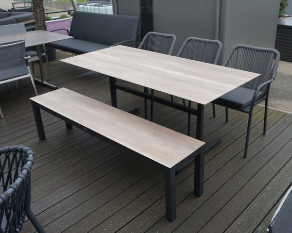 Gartentisch Set Pin Bistro Plano mit Bank HPL Platte Gestell Aluminium klappbar stapelbar - bowi.ch