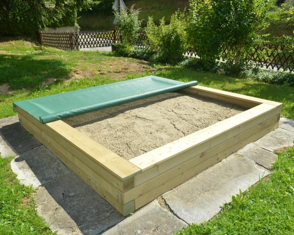 Sandkasten Bowi halb abgedeckt mit Sandkastennetz Grün - bowi.ch