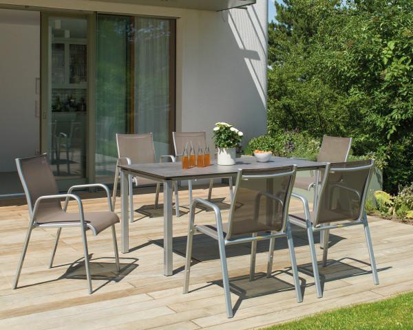 Gartentisch Set Lugano Milano HPL Silber Taupe auf Terrasse - bowi.ch