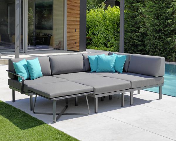 Garten Lounge Set Sylt Grau Metallic wasserfeste Kissen in Dark Taupe Karasek Gartenmöbel BOWI - bowi.ch
