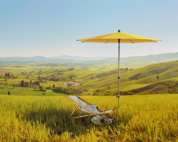 Stimmungsbild Sonnenschirm ALU-SMART Glatz rund Gelb - bowi.ch