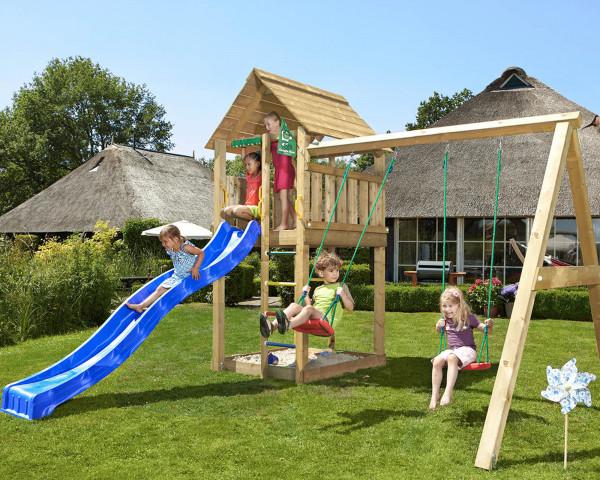 Spielturm Cabin mit 2-teiliger Anbauschaukel - bowi.ch
