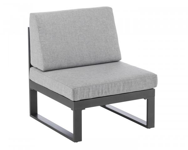 Lounge Garten Ocean Mittelteil Aluminium Anthrazit inkl. Sitz- und Rückenkissen Grau Möbel BOWI - bowi.ch