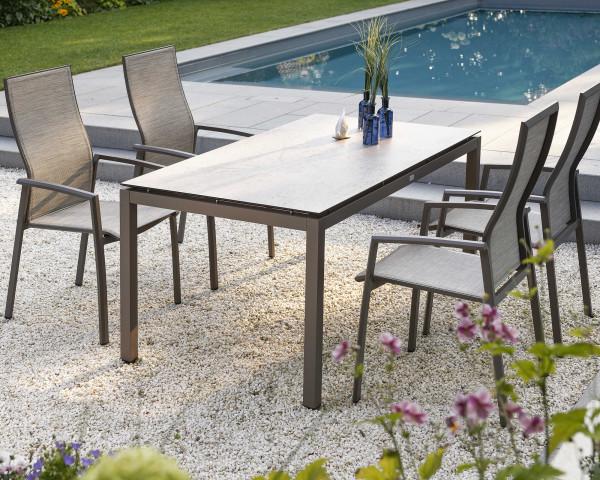 Gartentisch Set Kari Stern® Textilen Kaschmir, Aluminium Taupe - bowi.ch