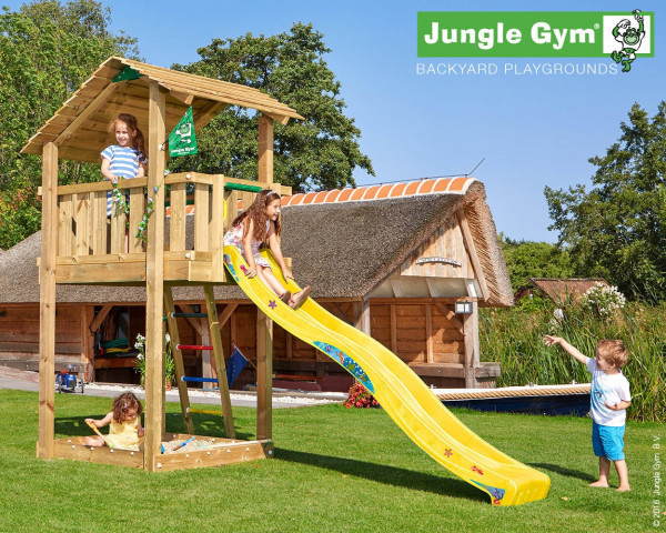 Spielturm Shelter Jungle Gym mit Holzdach, Rutschbahn und Sandkasten - bowi.ch
