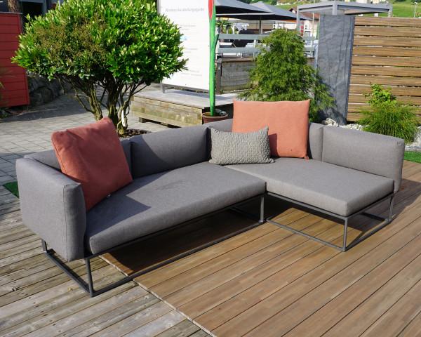 Garten Lounge Maya Gloster L-Form Wasserfest Coal Grau 2-teilig inkl Kissen in der Ausstellung - bowi.ch