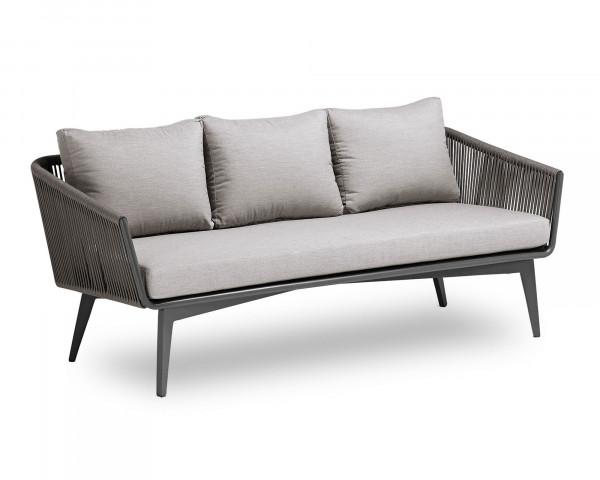 Garten Lounge 3er Sofa Diva geschnürt Aluminium Gestell Anthrazit - bowi.ch