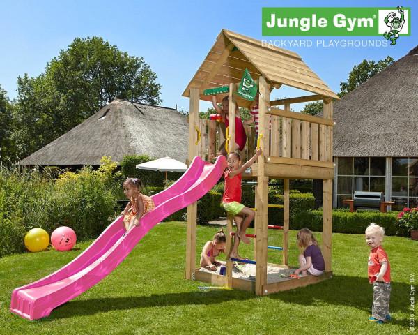 Spielturm Cabin Jungle Gym mit 2 Aufstiegsleitern, Rutschbahn und Sandkasten - bowi.ch