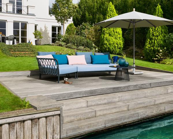 Garten Lounge Caro Eckteil XL Set Kordel wasserfeste Kissen Kordel Anthrazit Aluminium Gestell Anthrazit Gartenmöbel BOWI - bowi.ch