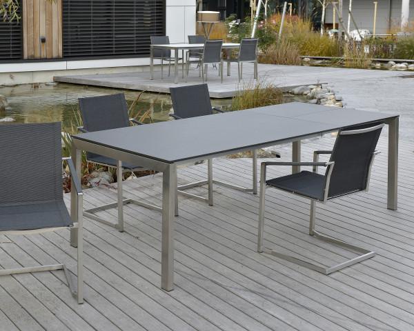 Gartentisch Ventura HPL Edelstahl Auszug Klappeinlage Gartenmöbel BOWI - bowi.ch