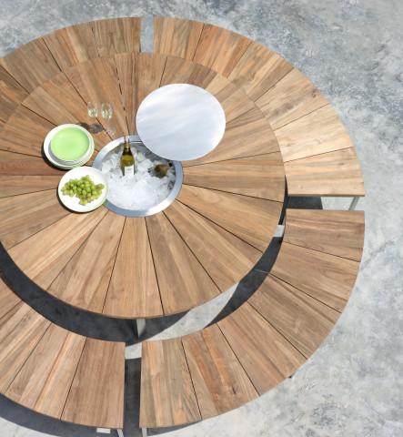 Gartentisch Set Rund Onyx Teakholz recycelt Edelstahlgestell 4 Bänke Gartenmöbel BOWI - bowi.ch