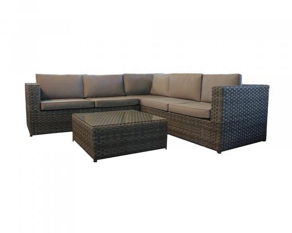 Garten Lounge Orlando Set Geflecht Wood Kissen grau 2 x Endteile, 1 x Eckteil, 1 x Beistelltisch Gartenmöbel BOWI - bowi.ch