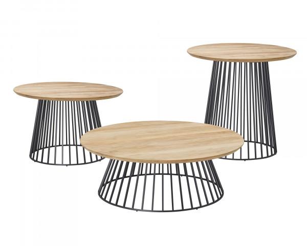 Beistelltisch Grid Rund Tischplatte Teakholz Gestell Aluminium Anthrazit - bowi.ch