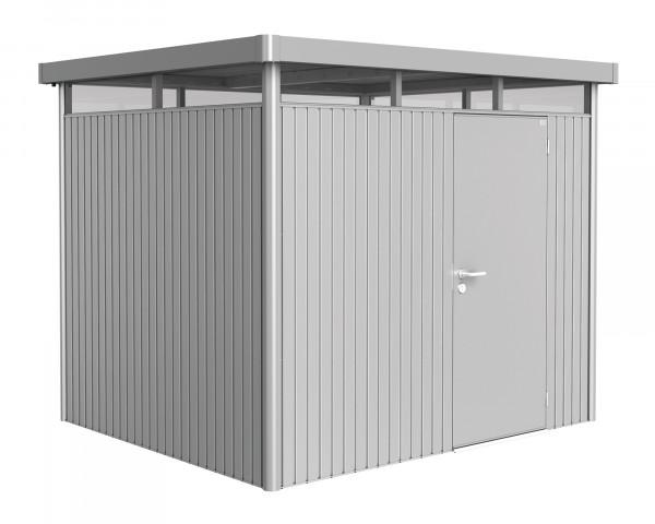 Das Gerätehaus HighLine® H3 mit Flachdach und durchgehendem Oblicht Silber Metallic Standardtüre - bowi.ch