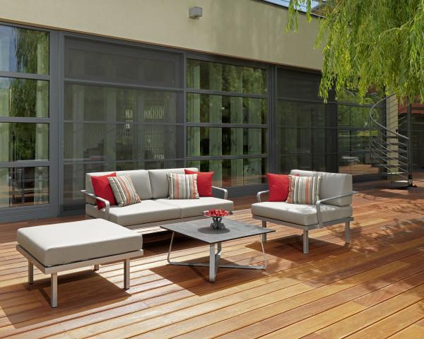Garten Lounge Set Sylt Silber Tisch HPL Sitzfläche Sunbrella® Rain Karasek Gartenmöbel BOWI - bowi.ch
