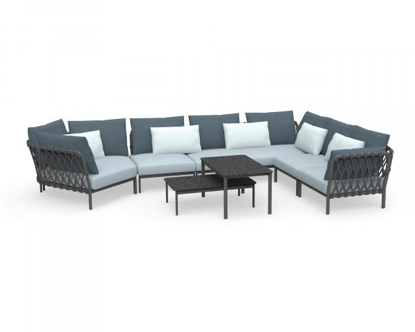 Garten Lounge Caro Set XL Kordel wasserfeste Kissen Kordel Anthrazit Aluminium Gestell Anthrazit Gartenmöbel BOWI - bowi.ch