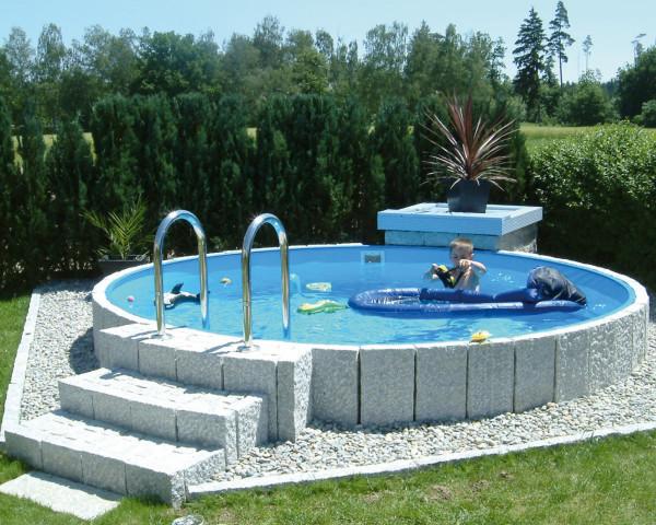 Swimmingpool rund Typ FUN halb versenkt mit Granitstein Umrandung - bowi.ch