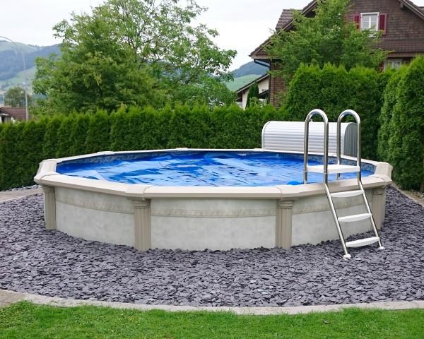 Schwimmbecken Pool Kreta rund halb versenkt - bowi.ch