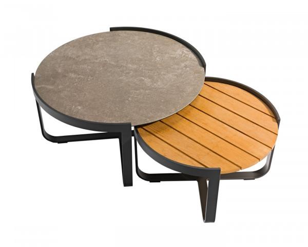 Beistelltisch Fly 2er Set Keramik Teakholz Aluminium Gestell pulverbescichtete Graphite Gartenmöbel - bowi.ch