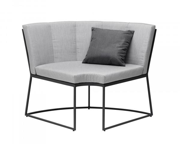 Lounge Corner Eckteil Aluminium Anthrazit Kissen Sunbrella® Grau-Gartenmöbel BOWI - bowi.ch