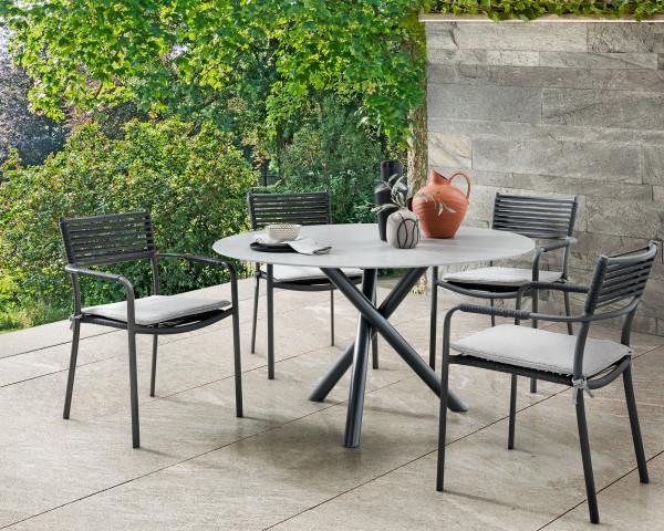 Gartentisch Set Tubo Rund Dekton Platte Sessel Arica geschnürt inkl. Sitzkissen - bowi.ch