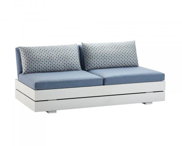 Garten Lounge Boxx 2er Mittelteil wasserfeste Kissen in Hellblau Zierkissen gemustert Grestell Aluminium Weiss mit Aufbewarungsboxox - bowi.ch