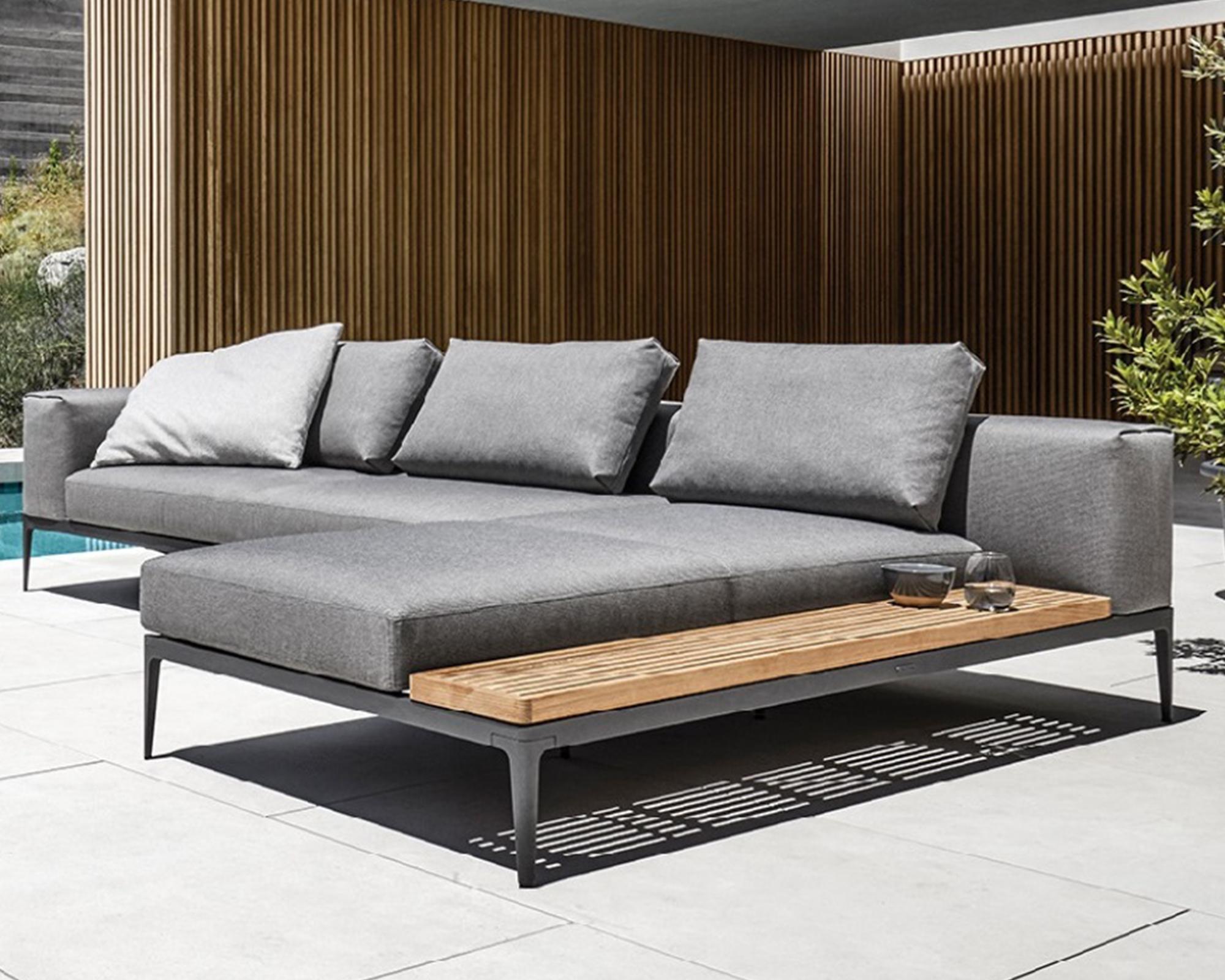 garten lounge set grid chaiselounge endeinheit gloster. Black Bedroom Furniture Sets. Home Design Ideas