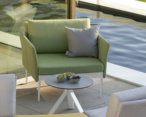 Garten Lounge Ildigo Sessel Stern® Möbel Farngrün mit Dekorkisssen hellgaru - bowi.ch