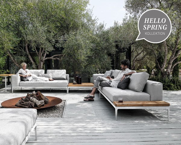 Garten Lounge Grid Weiss Alugestell grosse Liegefläche wasserfeste Kissen im Garten - bowi.ch