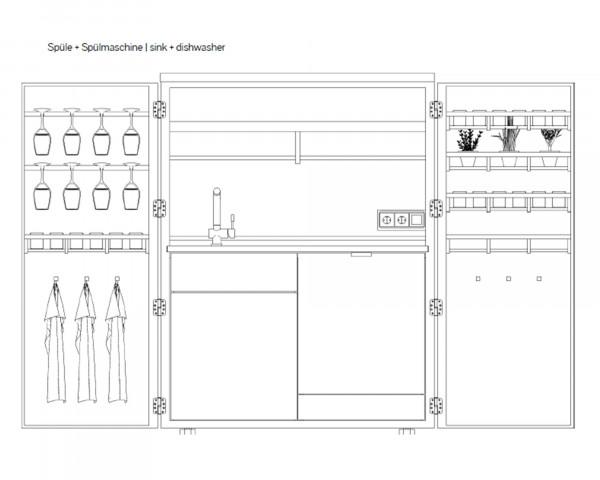 Cubic Outdoorküche Zeichnung mit Spühle und Spühlmaschine - bowi.ch