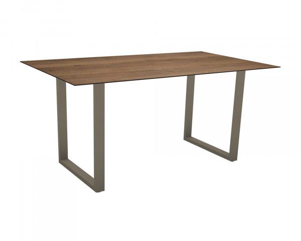 Gartentisch MIGUEL rechteckig Tischplatte HPL Touch Toffee Gestell Taupe - bowi.ch
