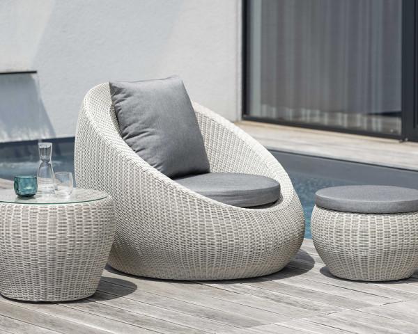 Garten Lounge Anny Geflecht RundWeiss Gartenmöbel BOWI - bowi.ch