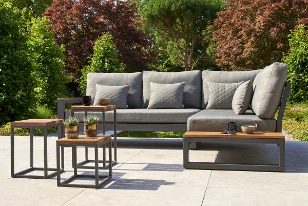 Garten Lounge Set Soho Links Sunbrella Kissen Natte Grey Chacoal Gestell ALU Anthrazit - bowi.ch