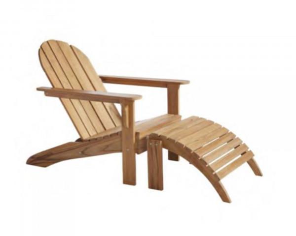 Garten Lounge Sessel Adirondack inkl. Fussteil Teakholz - bowi.ch