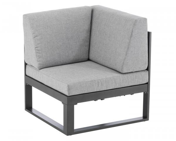 Lounge Garten Ocean Eckmodul hochklappbar Aluminium Anthrazit inkl. Sitz- und Rückenkissen Grau Möbel BOWI - bowi.ch